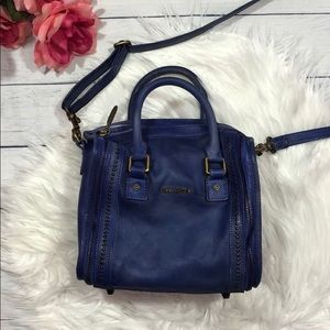 Old Trend Mini Truck Leather Blue Crossbody Bag